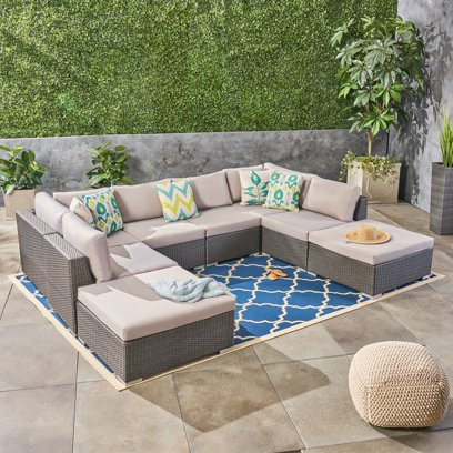 Ameer Outdoor 8 Piece Wicker Sectional Set With Cushions