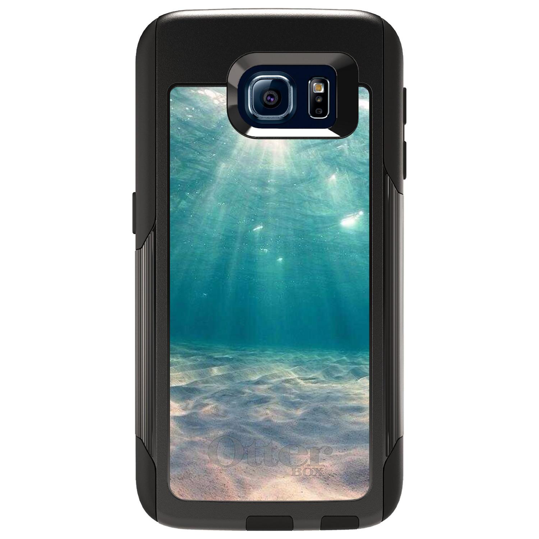 DistinctInk™ Custom Black OtterBox Commuter Series Case for Samsung Galaxy S6 - Underwater Sun Sand