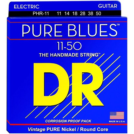DR Strings PHR11 Pure Blues Nickel Heavy Electric Guitar (Pure Nickel Electric Strings)