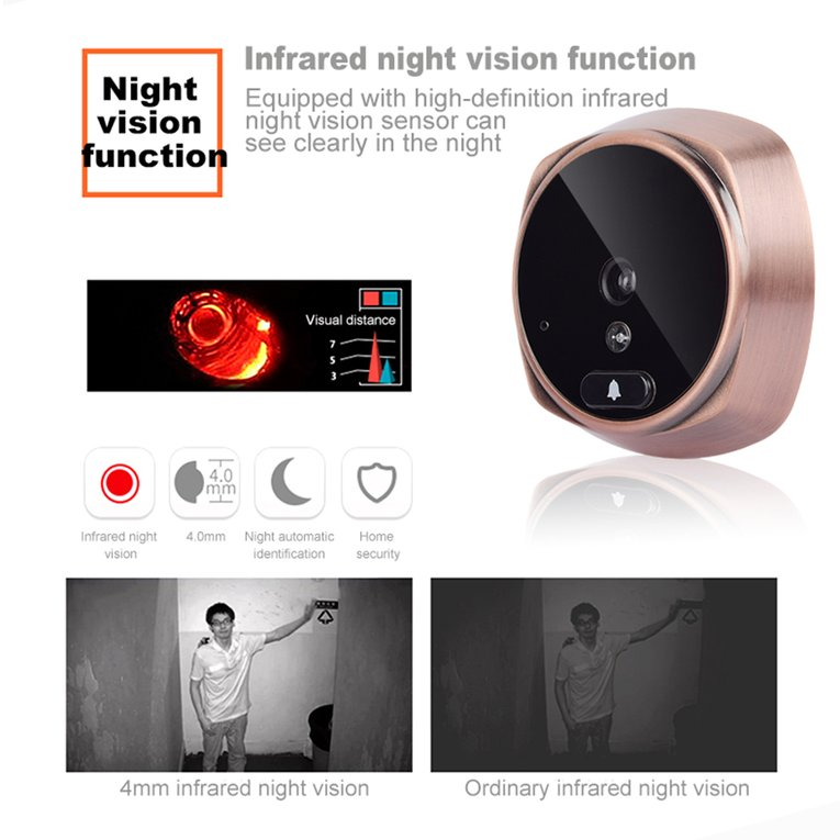 513A 3.0 Inch Display Home Security Peephole Door Viewer Infrared Night Vision Digital Intelligent Video Doorbell Camera