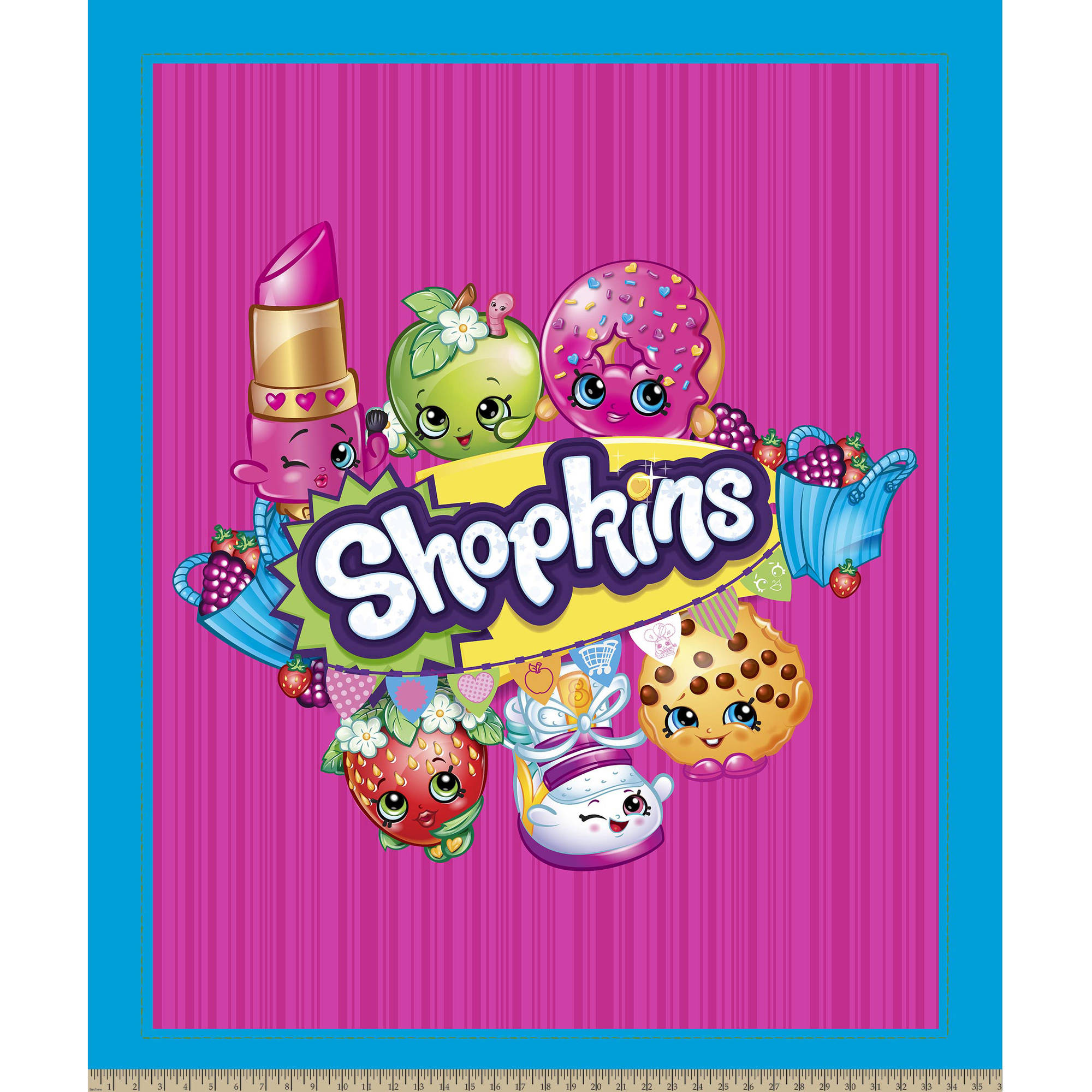 """Moose Shopkins Group Fabric by the Yard, Blue, 43""""/44"""" Width"""
