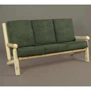 """66"""" Natural Northern Cedar Indoor Sofa Couch with Green Cushions"""