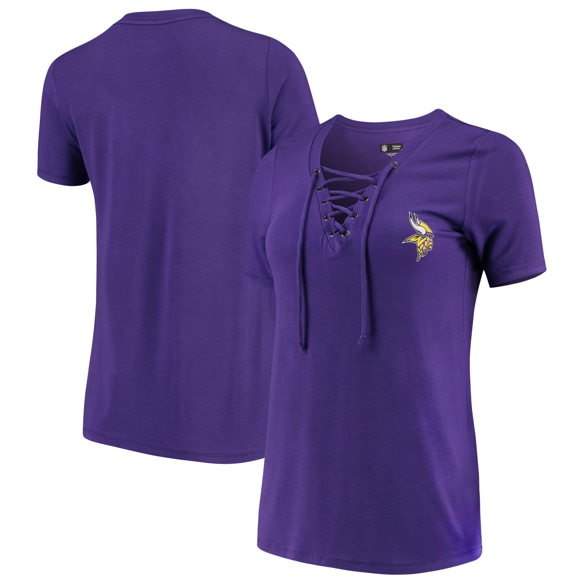Minnesota Vikings New Era Women's Lace-Up V-Neck T-Shirt - Purple