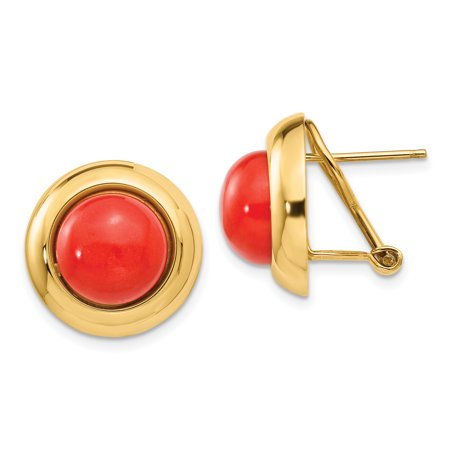 14k Omega Clip Reconstituted Coral Earrings 5.61grams (L 17mm W 17mm)Polished | 14k Yellow gold | Flat back | Omega back | (Gold Omega Cuff)