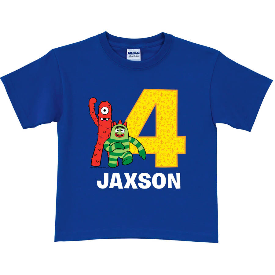 Personalized Yo Gabba Gabba Birthday Celebration Toddler Boys' T-Shirt, Blue