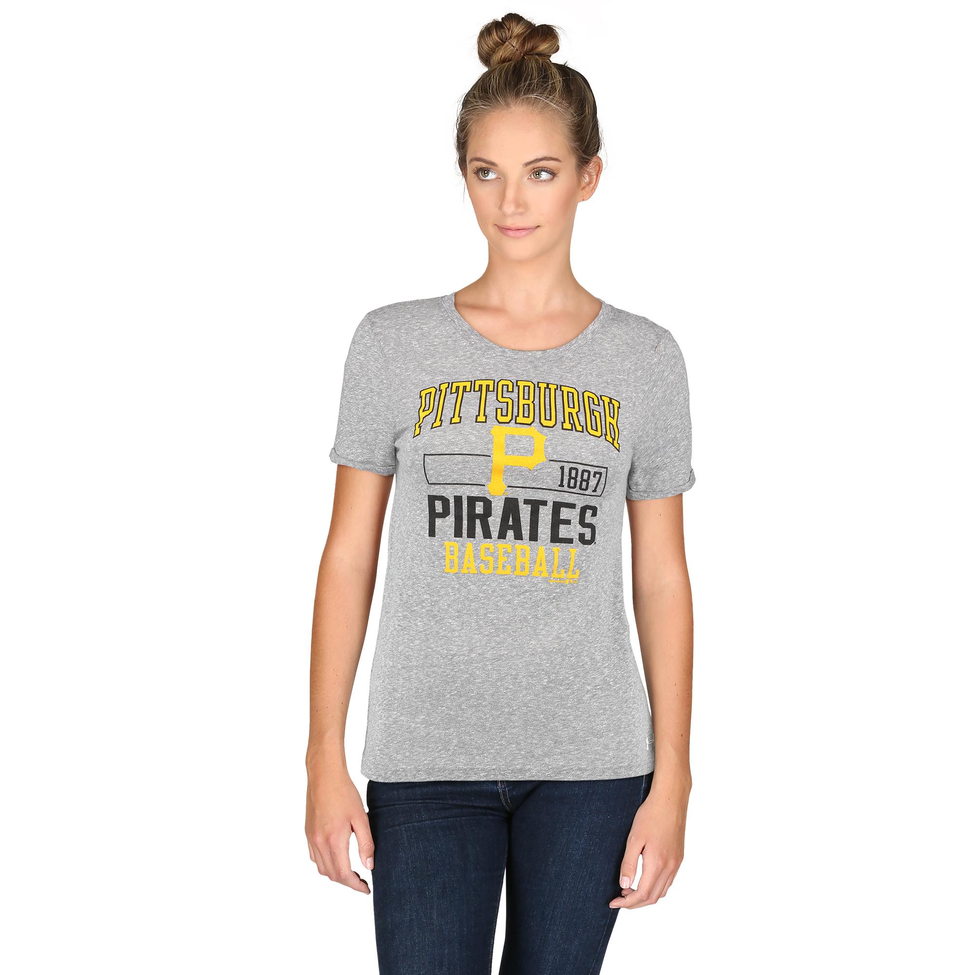 Pittsburgh Pirates Under Armour Women's Crew Neck Performance T-Shirt - Heathered Gray