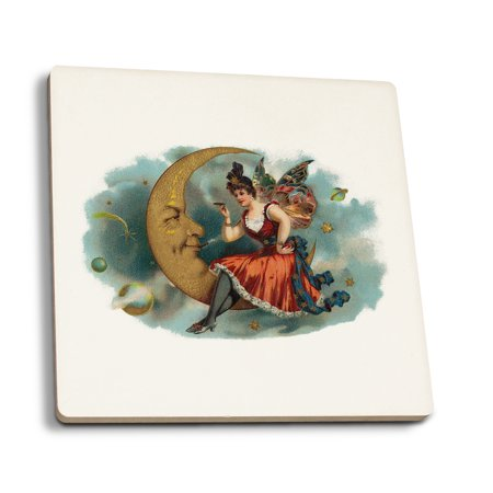 Picant Brand Cigar - Fairy Woman Smoking on the Moon - Vintage Label (Set of 4 Ceramic Coasters - Cork-backed, Absorbent)](The Vintage Fairy)