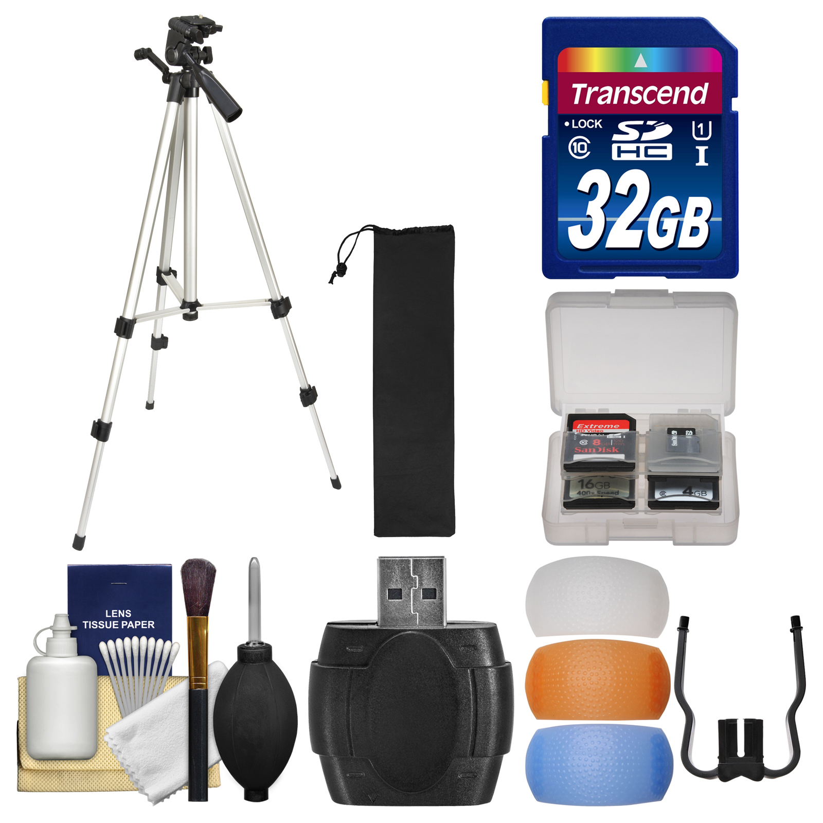 "Vivitar HF-TR59 59"" Photo / Video Tripod with Carrying Case with 32GB Card   Flash Diffuser Set   Kit"