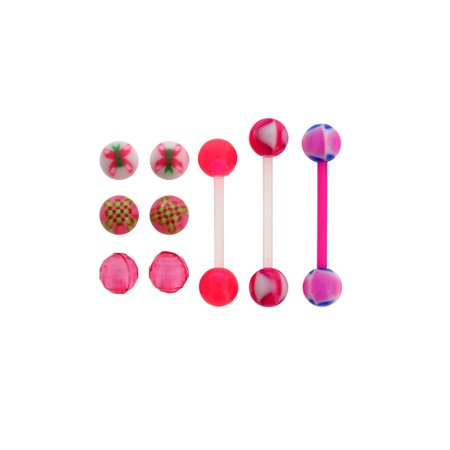 Body Magic 3pc Surgical Stainless Steel 14 Gauge Bioflex Barbells with Interchangeable Beads (Interchangeable Barbell Pack)