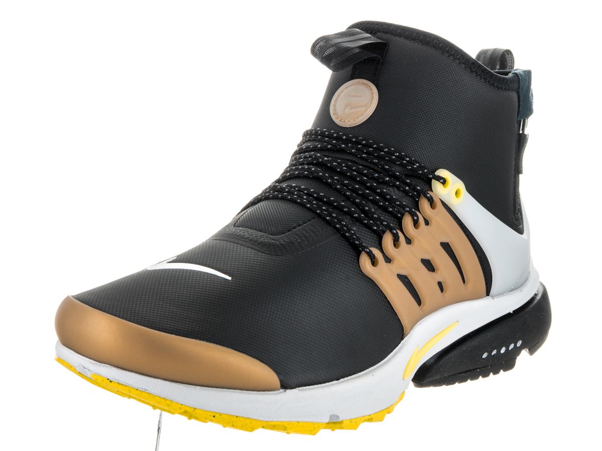 in stock b243b ee4c8 ... norway nike air presto mid utility mens shoes black metallic gold  neutral grey yellow streak 859524