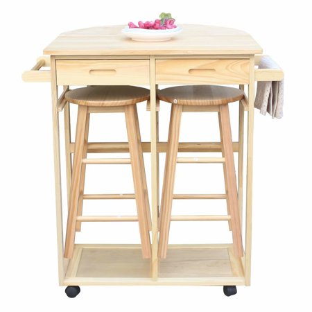 Outstanding Akoyovwerve Foldable Rolling Wooden Kitchen Storage Cart Dining Trolley W Round Stools Drawers Burlywood Unemploymentrelief Wooden Chair Designs For Living Room Unemploymentrelieforg