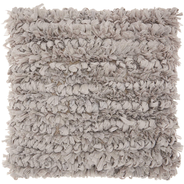 """Nourison Paper Loop Shag Decorative Throw Pillow, 20"""" x 20"""", Celadon"""