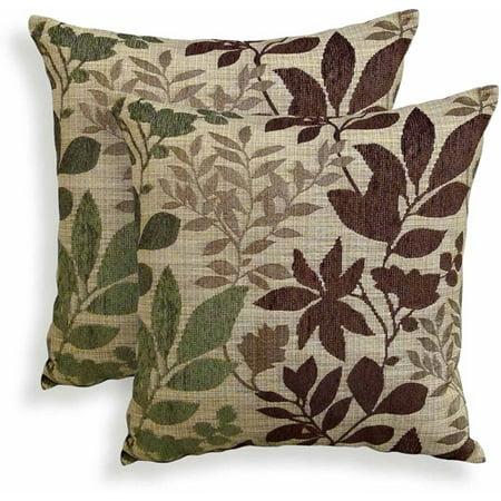 Bristol Chenille Jacquard Leaf Decorative Toss Pillow, Set of 2