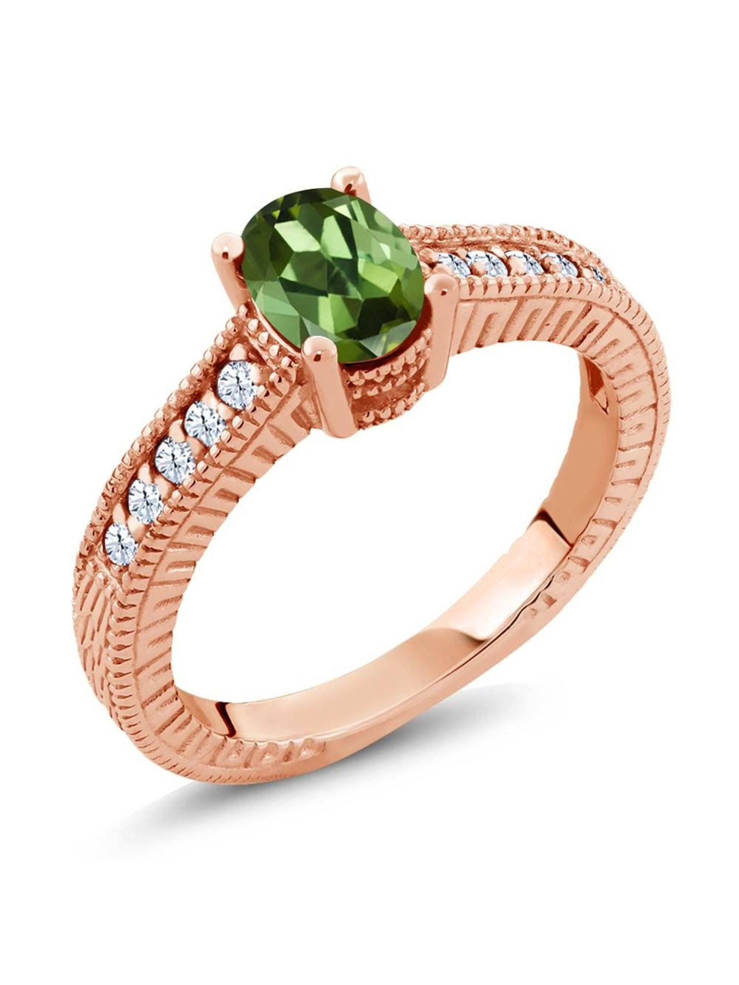 1.15 Ct Oval Green Tourmaline 18K Rose Gold Plated Silver Ring by