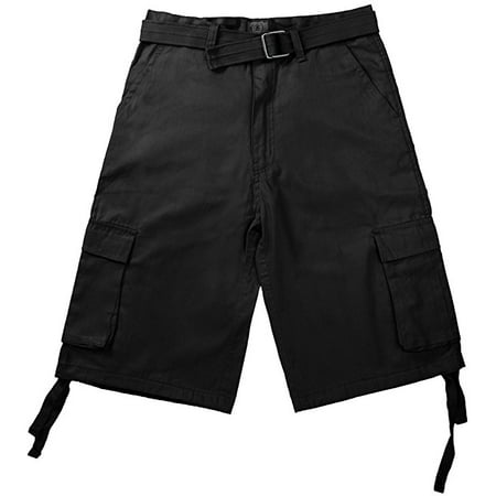North 15 Men's Belted Clasic Cargo Pockets Twill Shorts-4550-Blk-32 (Burton Red Impact Shorts)