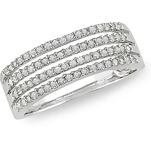 Miabella 3/8 Carat T.W. Four-Row Diamond Ring in 10kt White Gold