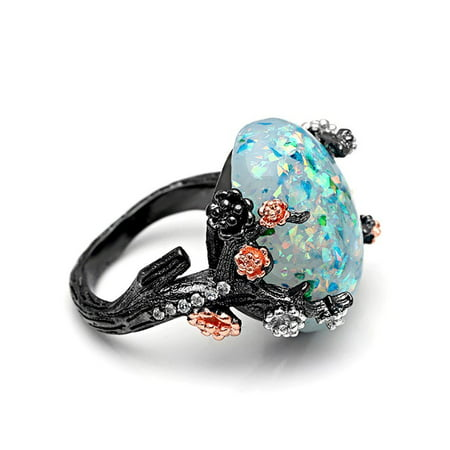 Lab Created Alexandrite Ring - Ginger Lyne Collection Henrietta Elven Tree Branch Setting Oval Green Lab Created Fire Opal Ring (6)