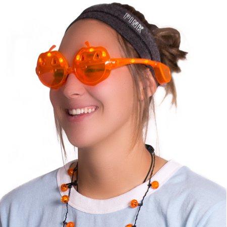 Veil Entertainment Light Up Jack O Lantern LED Glasses, Orange, One-Size