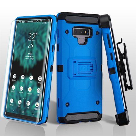 Samsung Galaxy Note 9 Phone Case Combo TUFF Kinetic Hybrid Impact Armor Rugged TPU Dual Layer Hard Protective Cover Belt Clip Holster with Screen Protector Blue Case for Galaxy Note 9 (Samsung Note 3 Case For Belt)