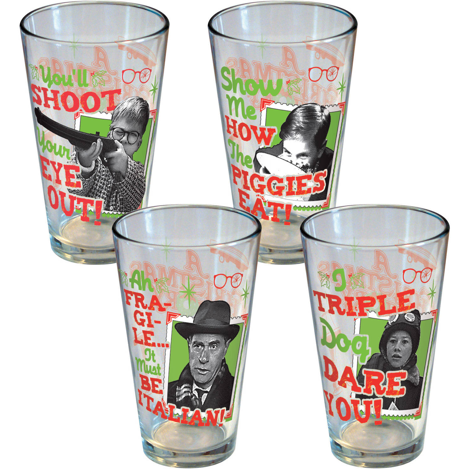 A Christmas Story Retro Pint Glasses, Set of 4 by ICUP