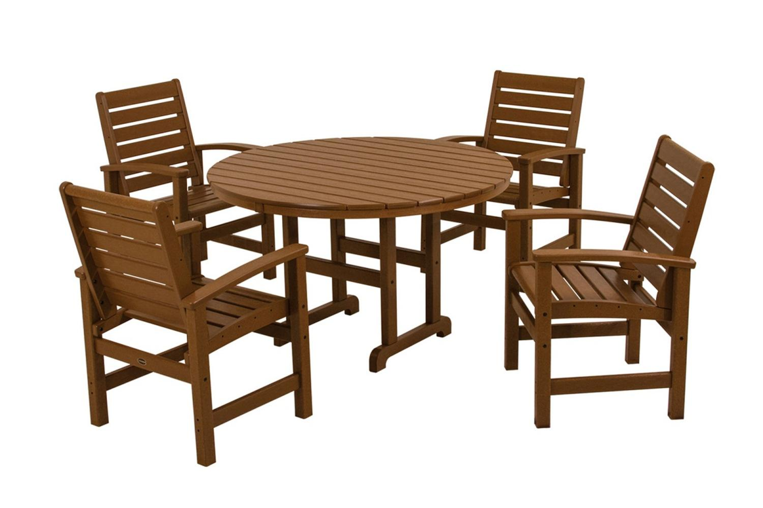 Outdoor Recycled Earth-Friendly 5-Piece Patio Dining Room Set Teak Brown by Eco-Friendly Furnishings
