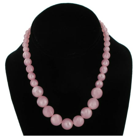 Wet Seal Light Pink Graduated Lucite Marbled Beaded Close-Fitting Choker Necklace 16