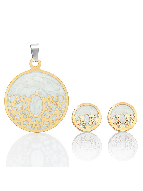 Stainless Steel Gold Tone Elegant Marble Round Pendant and Earring Set by Valyria