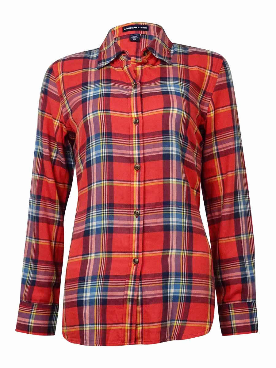 American Living Womens Plaid Long Sleeves Flannel Shirt
