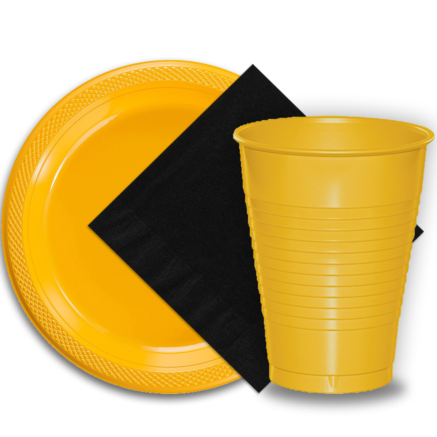 "50 Yellow Plastic Plates (9""), 50 Yellow Plastic Cups (12 oz.), and 50 Black Paper Napkins, Dazzelling Colored Disposable Party Supplies Tableware Set for Fifty Guests."