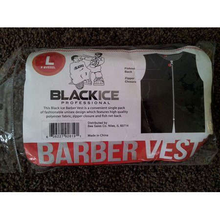 Barber Vest Size LARGE BLACK Professional polyester fabric with zipper closure, vest By Black Ice,USA (Ice Vest)
