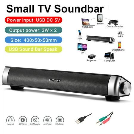 Soundbar, ELEGIANT 360 Stereo USB Power Sound Bar Multi-Media Soundbar Speaker with LED Monitor for Computer Desktop PC Notebook