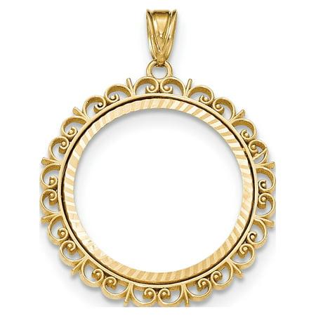 14K Yellow Gold Fancy D/C Prong 1/4AE Bezel Pendant / Charm - image 1 of 2