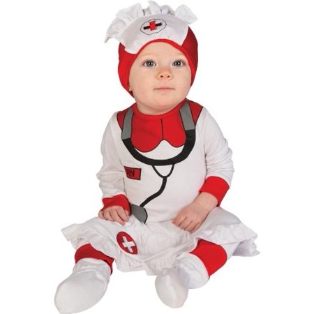 Rubie's Baby's First Halloween Nurse Printed Jumper With Attached Skirt Hat and Booties, White, 0-6 Months](Halloween Jumpers Rentals)