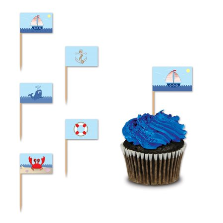 Club Pack of 600 Blue Nautical Themed Food, Drink or Decoration Party Picks 4