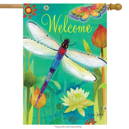 Dragonfly Dream Spring House Flag Welcome Butterflies Floral 28