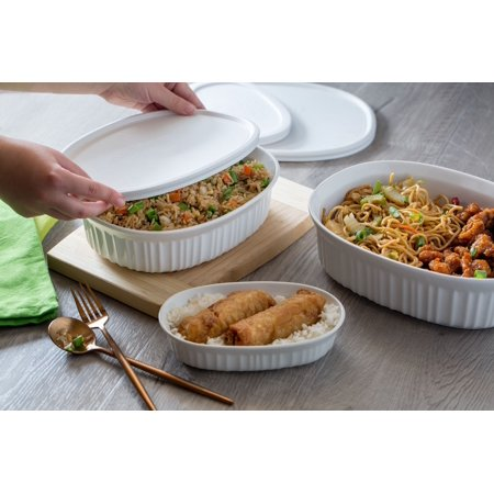 CorningWare French White Round & Oval Baking Casserole Set, 8 Piece (Mist Casserole)