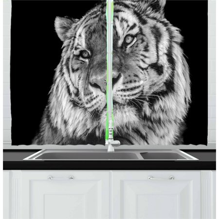 Tiger Curtains 2 Panels Set, Close-up Photo of a Wild Feline Beast with an Intense Gaze Strength of a Hunter, Window Drapes for Living Room Bedroom, 55W X 39L Inches, (Tigers Window)