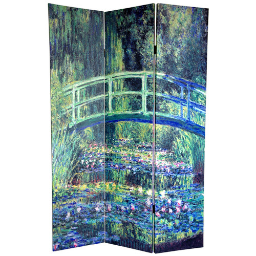 Oriental Furniture 72'' x 48'' Double Sided Works of Monet 3 Panel Room