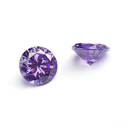 4.5 Mm Round Stones - 9mm Flawless Amethyst Purple Cubic Zirconia Stones Round Brilliant-Cut Cz Stone Settings