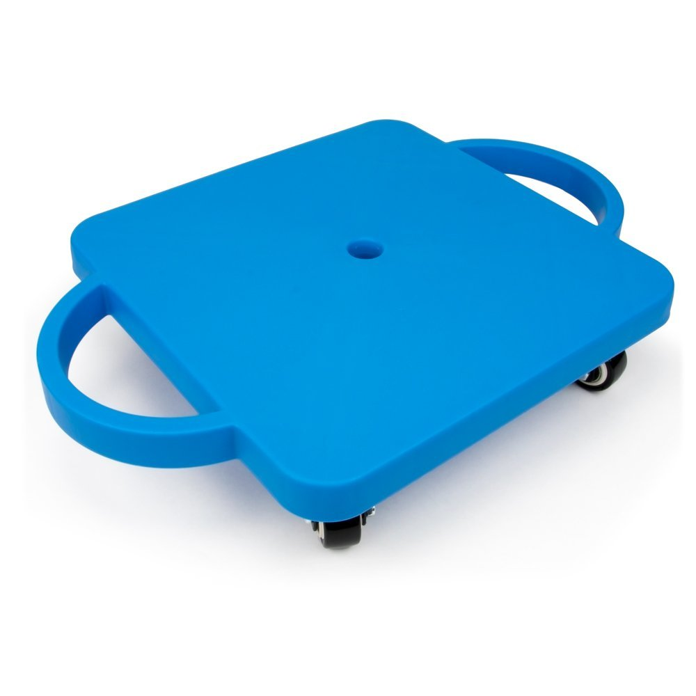 Sliding Board For Kids, Blue Non-skid Casters Slide Board Kids, Safety Handles by K-Roo Sports