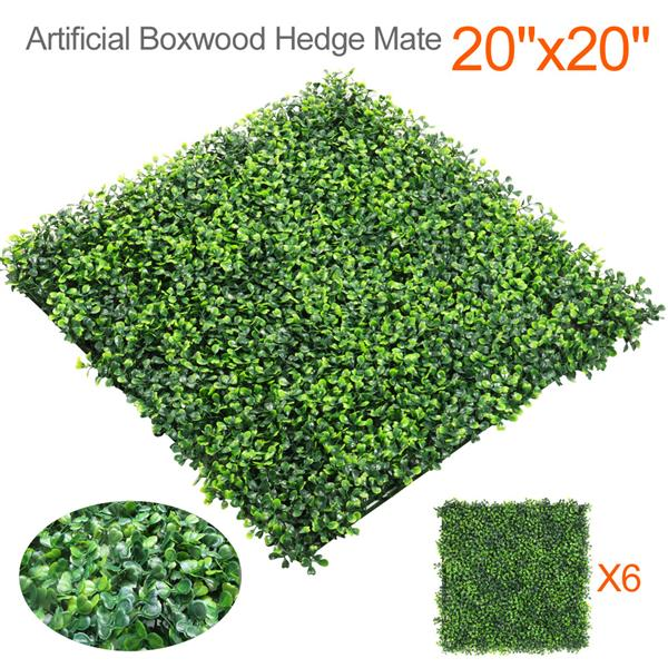 "Yaheetech 6PCS 20"" x 20"" Artificial Boxwood Plants Wall Panel Hedge Greenery Garden Home Decorations Green"
