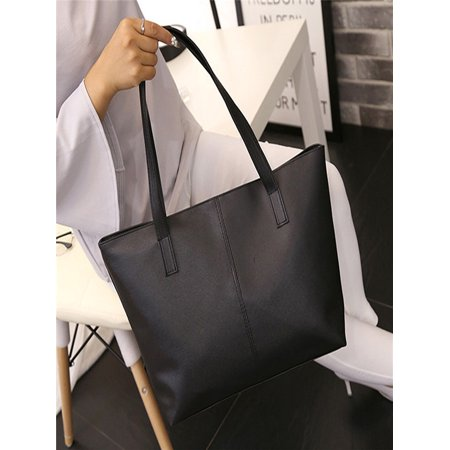 Black Satchel Tote - Women Ladies Leather Shoulder Bag Celebrity Tote Purse Travel Bag Large Black