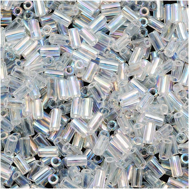 Toho Bugle Tube Beads Size #1 / 2x3mm Transparent Rainbow Crystal 8 Grams