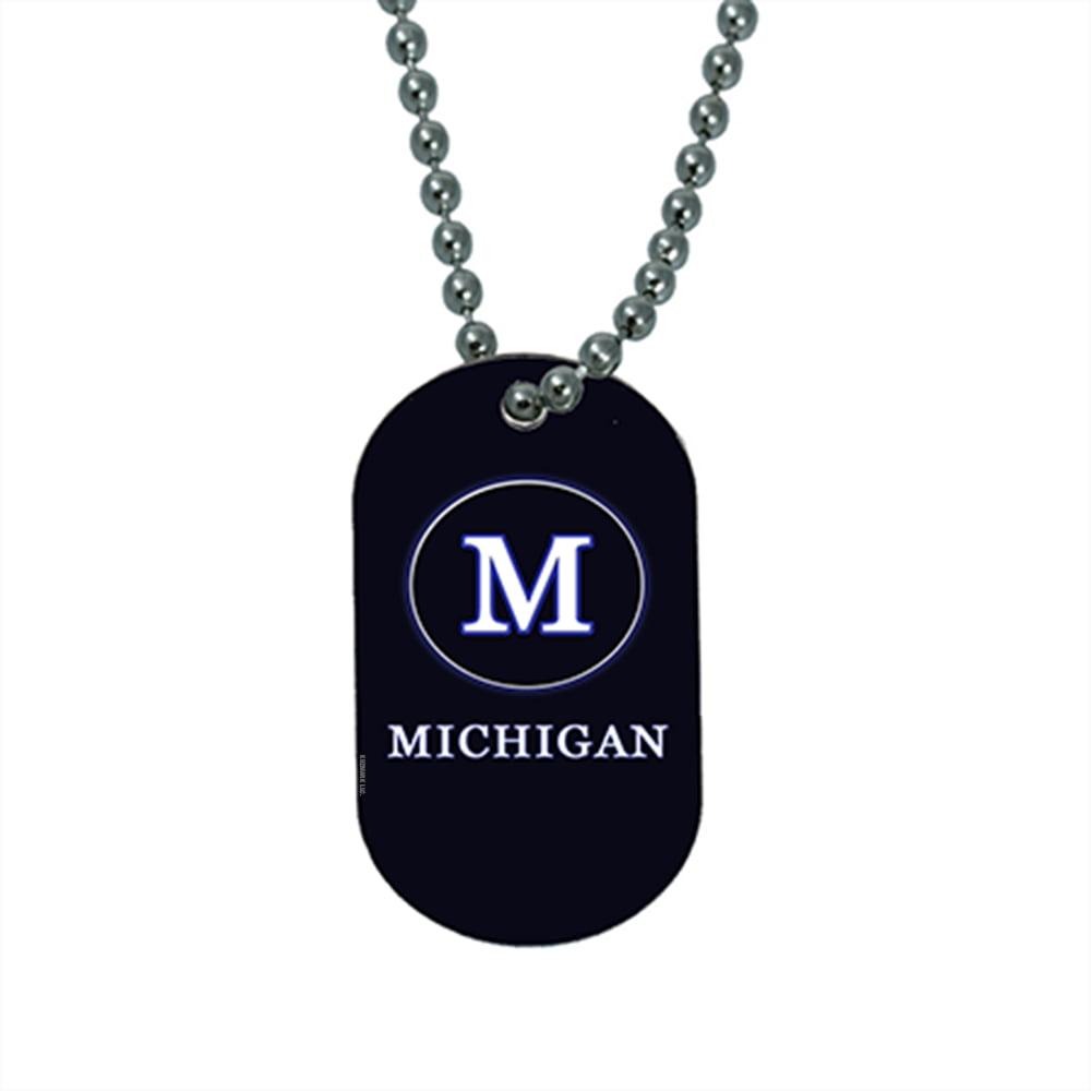 KuzmarK Pendant Dog Tag Necklace - Michigan