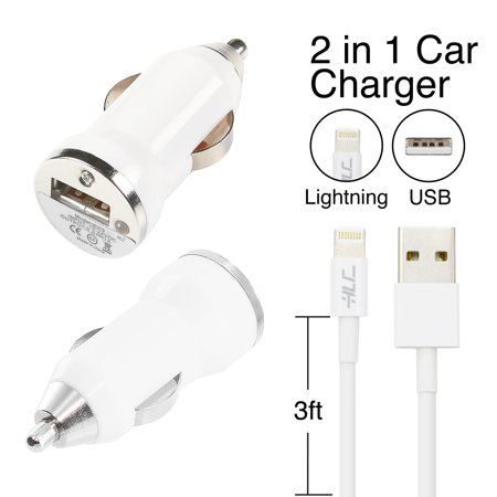 Little Brother Green Car - 2-in-1 Car Charger with Heavy Duty Cable for Apple iPhone X/8/7/6/5 - White