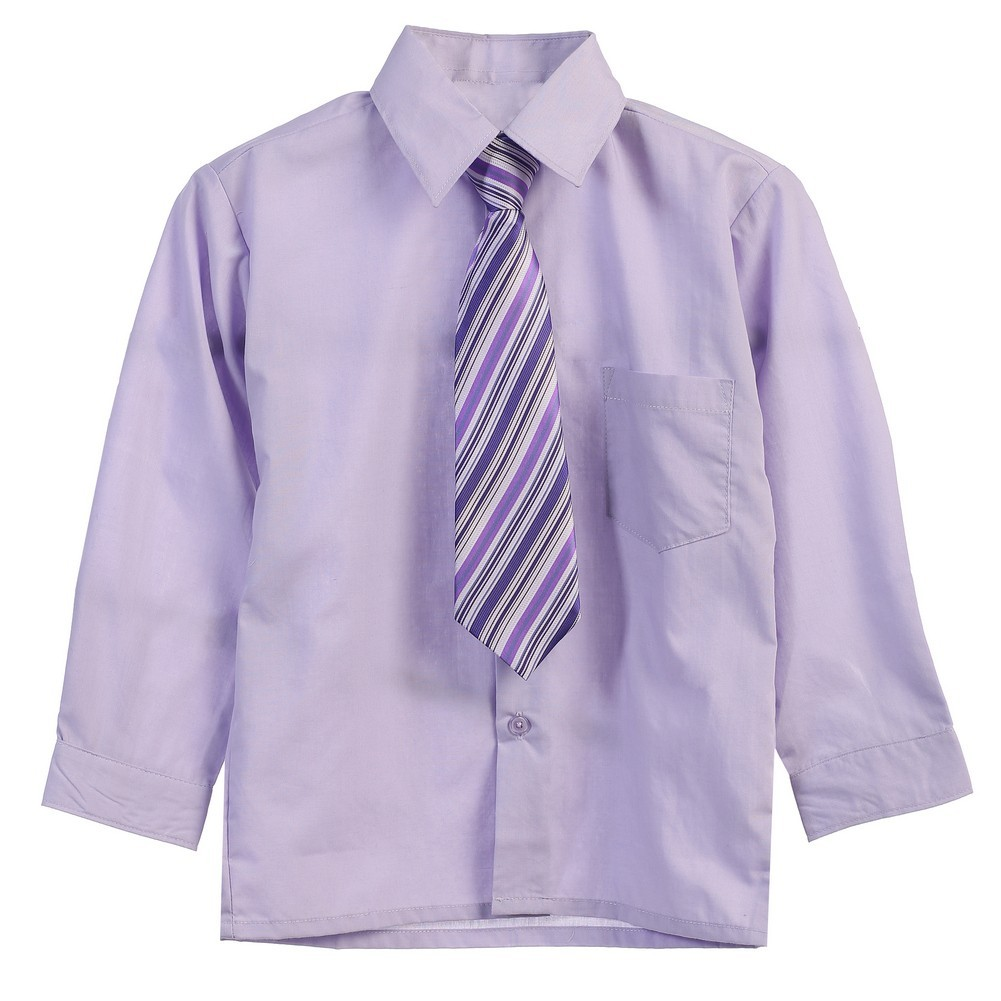Little Boys Lilac Tie Long Sleeve Button Special Occasion Dress Shirt 2T-7