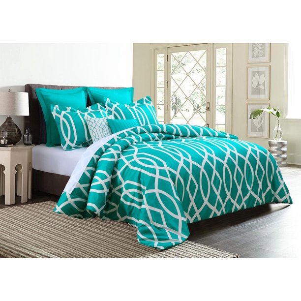 7 Piece Geometric Anbu Comforter Set Teal   Full Size   Walmart