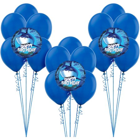 Balloon And Ribbons (Shark Balloon Supplies, Include Latex Balloons, Foil Balloons, and)