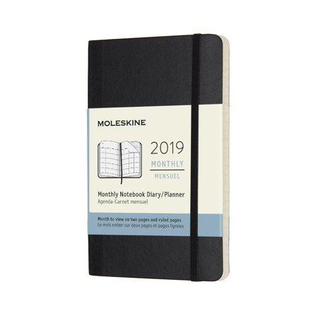 Moleskine 2019 12m Monthly, Pocket, Monthly, Black, Soft Cover (3.5 X 5.5) (Franklin Covey Black Pocket)