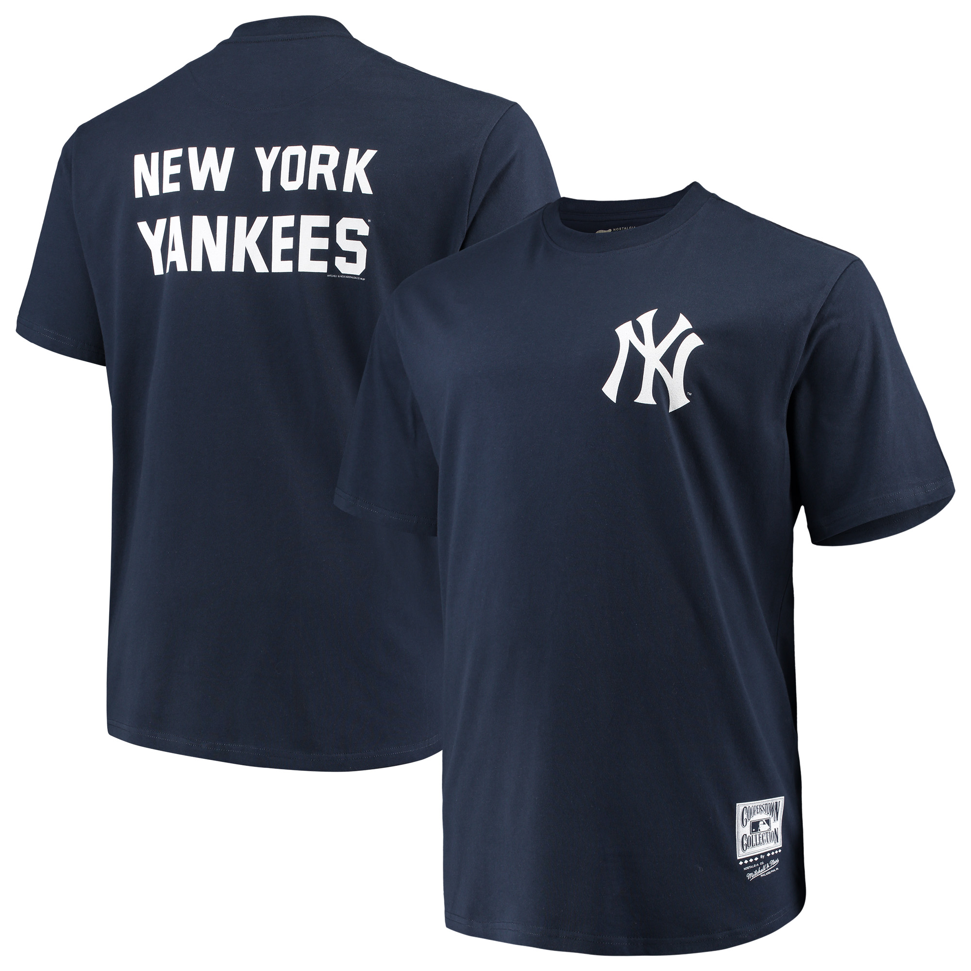 New York Yankees Mitchell & Ness Big & Tall Cooperstown Collection 2-Hit T-Shirt - Navy